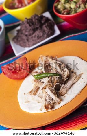 Mexican Cochinita pibil with tortilla  - stock photo