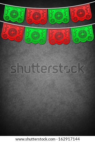 Mexican decoration poster template - copy space - stock photo
