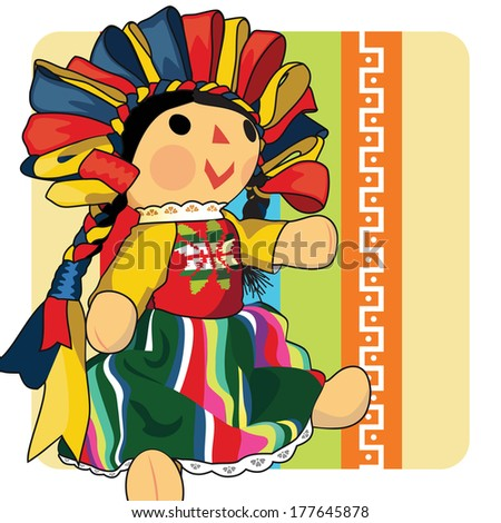 Mexican Doll / Illustrated mexican traditional style doll.