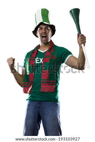 Mexican Fan Celebrating, on a white background.