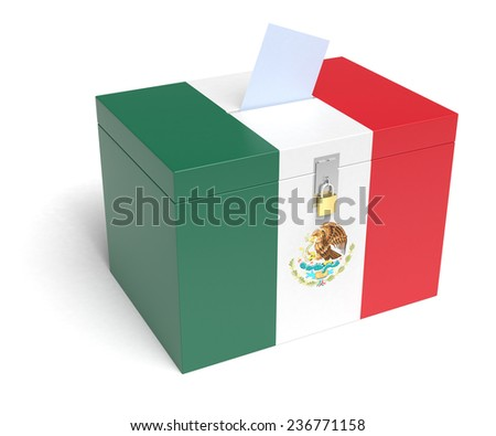 Mexican Flag Ballot Box, 3D Rendering - stock photo