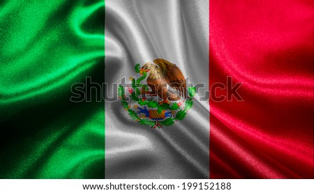 Mexican flag fabric with waves - stock photo