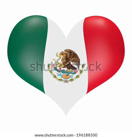Mexican flag in 3D heart shape