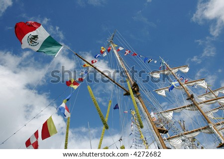 Mexican flag on a sailboat