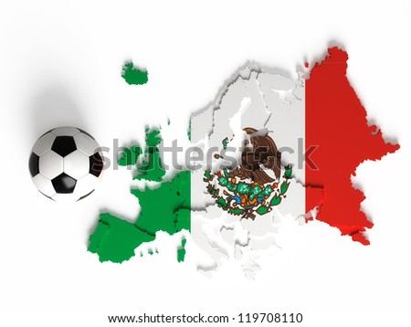 Mexican flag on European map with national borders, isolated on white background - stock photo