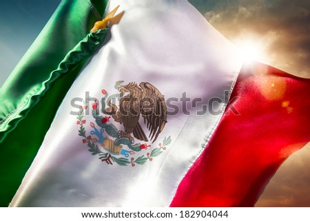 Mexican Flag with dramatic lighting, Independence day, cinco de mayo celebration - stock photo