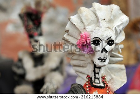 Mexican folklore skeletons for sale at  the Art-market of San Angel in Mexico City, Mexico. - stock photo