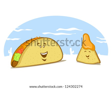 Mexican Food Cartoon with a Taco and a Nacho - stock photo