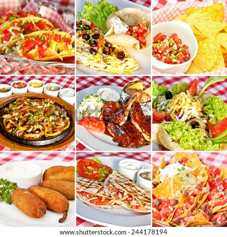 Mexican food collage including taco salad, nachos, deep-fried jalapeno chili peppers, vegan nachos, barbecue chicken, fajitas and cheddar quesadillas - stock photo