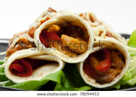 Mexican food, fajitas - stock photo