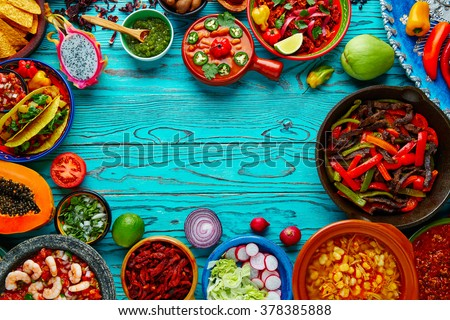 Mexican food mix copyspace frame colorful background Mexico - stock photo