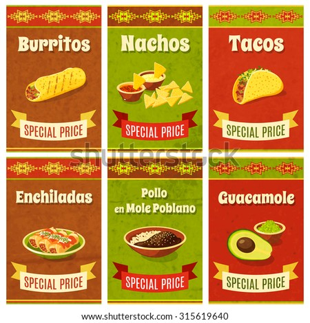 Mexican food promo poster mini set with traditional meal and ingredients isolated  illustration