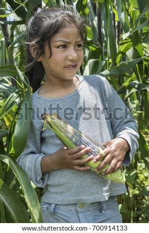 mexican girl with corncob expressive and tender portrait of a young girl