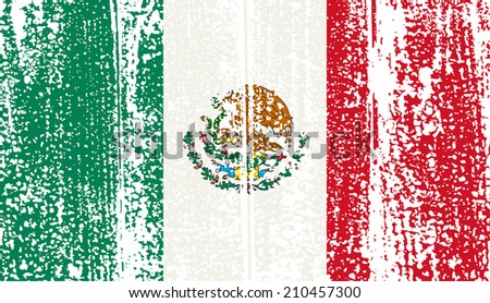 Mexican grunge flag.  - stock photo