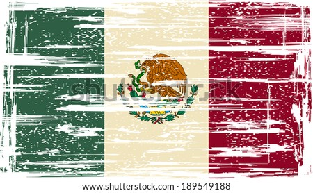 Mexican grunge flag. Raster version. - stock photo