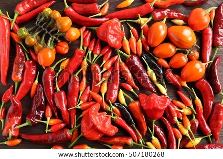 Mexican hot chilli peppers colorful mix on wooden background.