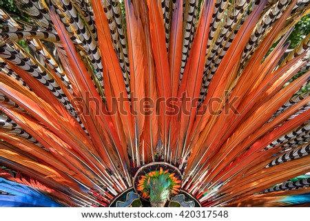 Mexican indigenous handcrafted colorful headdress closeup in San Miguel de Allende