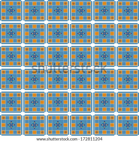 Mexican inspired tile pattern with shades of blue and orange./Tile Pattern - stock photo
