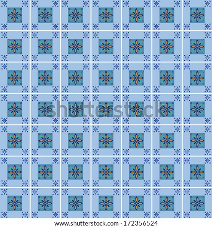 Mexican inspired tile pattern with shades of blue/Blue Tile Pattern - stock photo