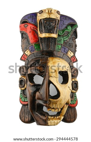 Mexican Mayan Aztec ceramic painted mask with skull isolated on white - stock photo