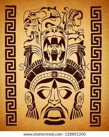 mexican Mayan motifs - symbol - paper texture - stock photo