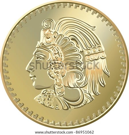 Mexican money, Gold Coin centavo with image of Indians