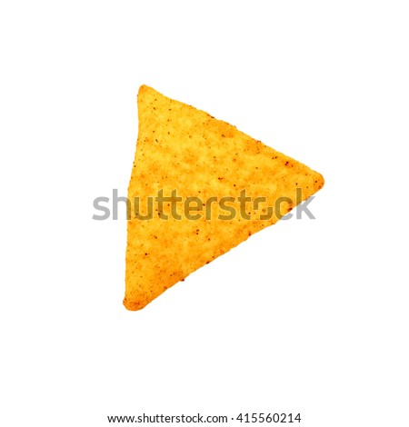 Mexican nachos, tortilla chips isolated on white background - stock photo