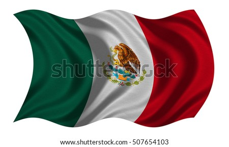 Mexican national official flag. Patriotic symbol, banner, element, background. Correct colors. Flag of Mexico with real detailed fabric texture wavy isolated on white, 3D illustration