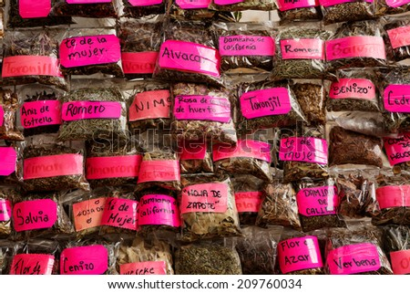 Mexican naturist herbs sold at street vendors - stock photo
