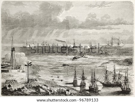 Mexican naval artillery  shooting against French vessel La Lance in Tampico harbour. Tampico old view from lake bank, Mexico. Created by Lebreton, published on L'illustration, Paris, 1863 - stock photo