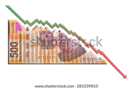 Mexican Peso Declining Graph bill - stock photo