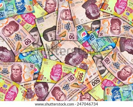 Mexican Peso Paper Bills - stock photo