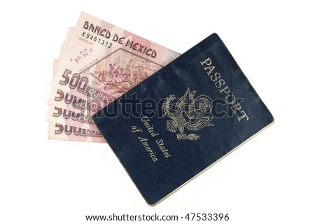 Mexican pesos and US passport