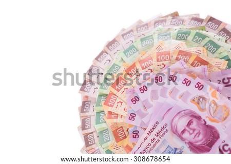 Mexican pesos, bills of 50, 100, 200, 500 - stock photo