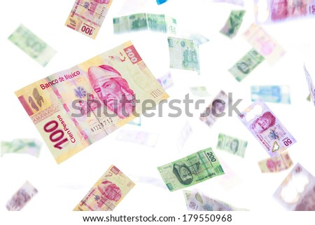 Mexican pesos falling, bills of 20, 50, 100, 200 and 500 - stock photo