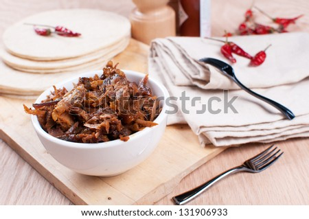 Mexican pulled pork with spices and tortillas horizontal