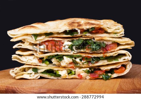 Mexican quesadillas. - stock photo