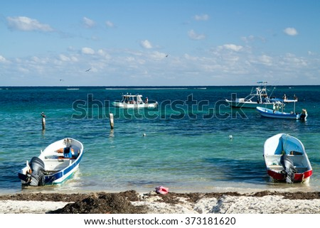 mexican riviera puerto morelos beach side - stock photo