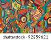 mexican rug from palenque mexico - stock photo