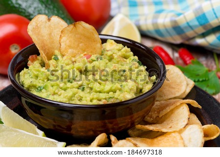 Mexican sauce guacamole, close-up