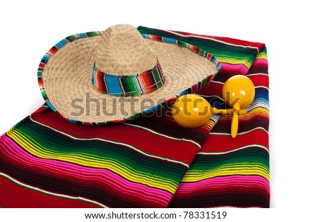 Mexican Serape, sombrero and yellow maracas on a white background