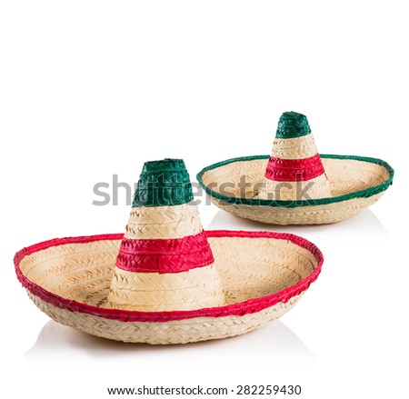 Mexican sombreros in white background - stock photo