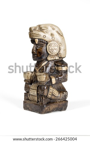 Mexican statue - Mayan god bonfires home isolated with clipping path. - stock photo