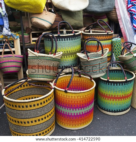 Mexican straw baskets in mexico. - stock photo