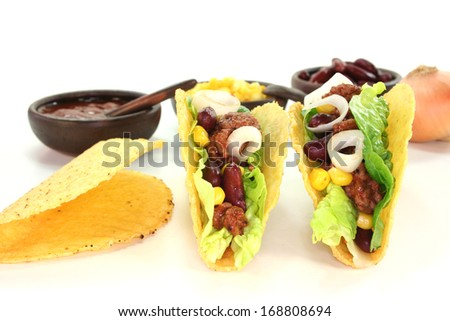 mexican tacos with ground beef - stock photo