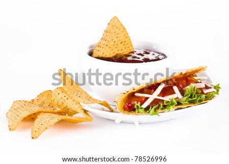 Mexican tacos with nachos  isolated over white background
