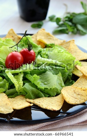 Mexican tortilla chips with lettuce leaves on a black plate