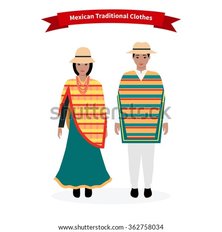 Mexican traditional clothes people. Man with hat, ethnic culture costume for woman, dress native national person lady character tradition nationality clothing with pattern illustration. Raster version - stock photo