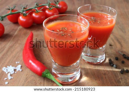 mexicana a drink made from tomatoes, chilies and other ingredients