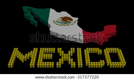 Mexico barrel text with map flag illustration - stock photo